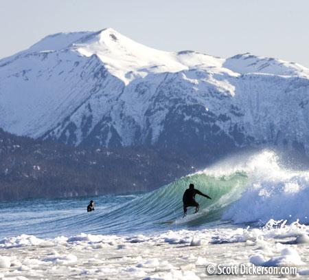 Surfing Alaska - cold water winter surf