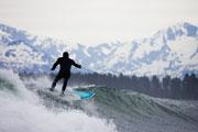 Iceman surfing Yakutat Alaska