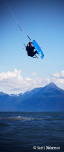 Kitesurfing Alaska - Tom Fredericks catching big air.