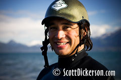 Kitesurfer Tom Fredericks in Homer Alaska.
