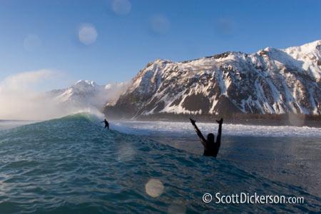 surfing Bear Glacier Alaska