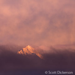 Sunset on Sadies Peak in the Kenai Mountain range, Homer, Alaska. Photo by Scott Dickerson