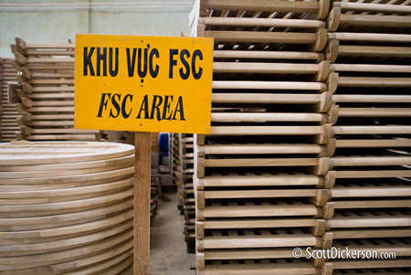 Photo of FSC certified furniture manufacturing in Vietnam.