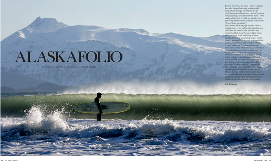 "Alaska surfing photo copyright Scott Dickerson. Magazine layout copyright ""The Surfer\'s Path\"""