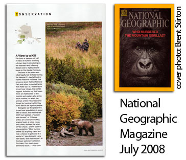 Katmai National Preserve bear hunt appears in National Geographic Magazine July 2008 Issue.