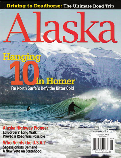 Cover of Alaska Magazine - Alaska surfing photos by Scott Dickerson