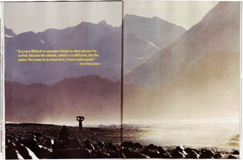 Alaska surfing photos by Scott Dickerson in Alaska Magazine.