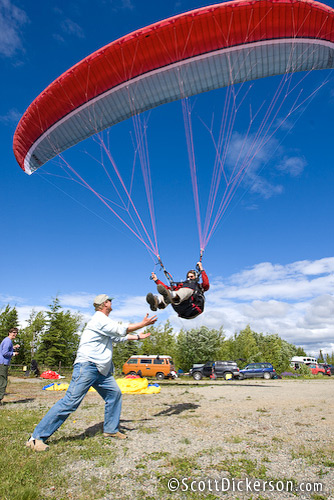 Paragliding maneuvers training weekend with Chris Santacroce and Midnight Sun Paragliding in Alaska.