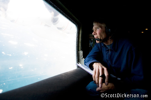 Polar bear biologist Steve Amstrup searches for swimming polar bears out the window of a US Coast Guard C-130 while flying over the Chukchi Sea in the Arctic above Alaska.