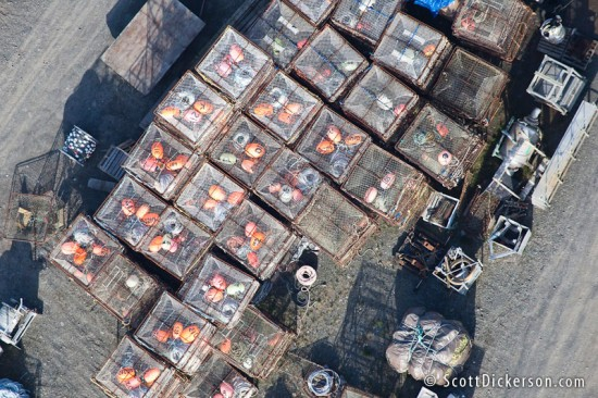 Aerial of crab fishing pots