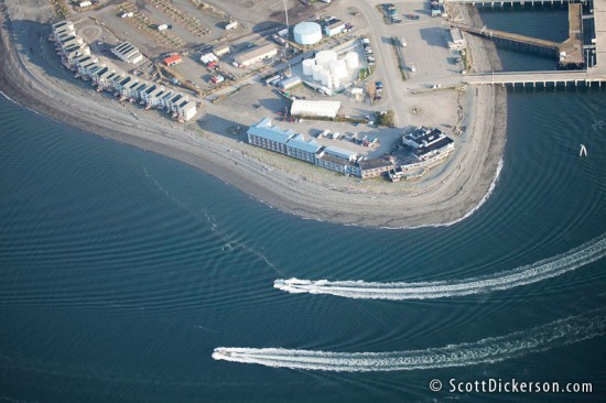 Aerial photo of the Homer Spit, Alaska.