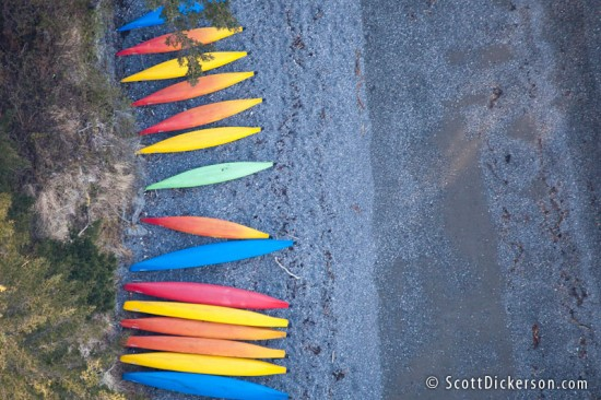 Aerial photo of kayaks on the beach