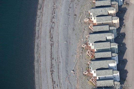 Aerial photo of condos on the Homer Spit beach in Alask