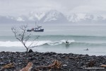 Surfing in Alaska with the m/v Milo.