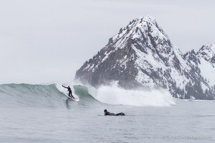 Mike McCune surfing Alaska