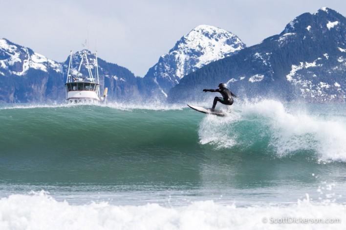 Eric Jackson surfing in Alaska.