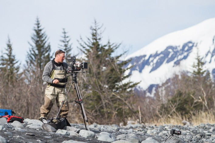 Gabe Langlios filming surfing in Alaska.