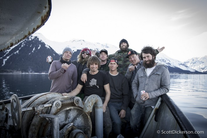 Brothers on the Run crew aboard the m/v Milo on a surf trip in Alaska.