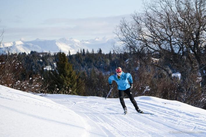Erika Klaar nordic skiing in Homer, Alaska.