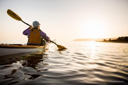 Erika Klaar sea kayaking on Kachemak Bay, Homer, Alaska.