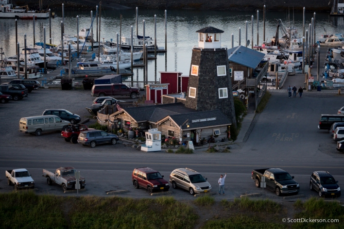 Aerial photo of Salty Dawg Saloon on the Homer spit. Homer, Alaska.