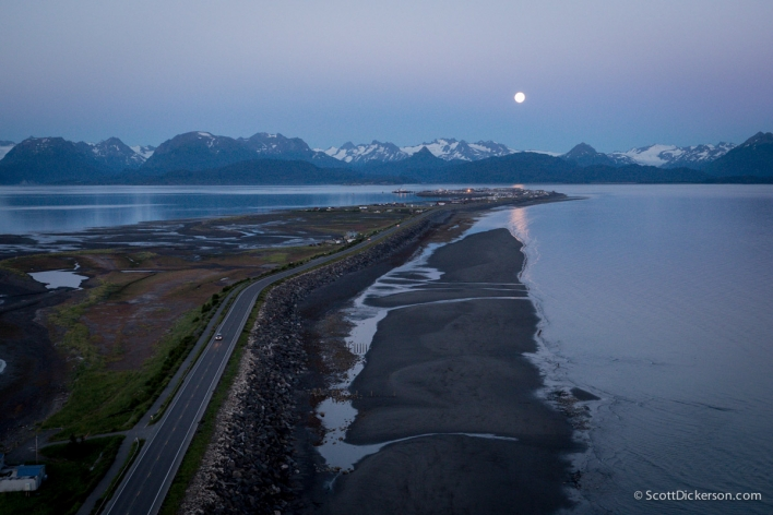 moonrise over the Homer Spit. Homer, Alaska. Aerial view.