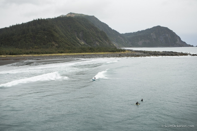 aerial of surfing in Alaska