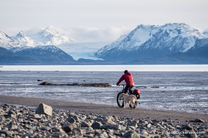 Fat tire biking a beach in Alaska