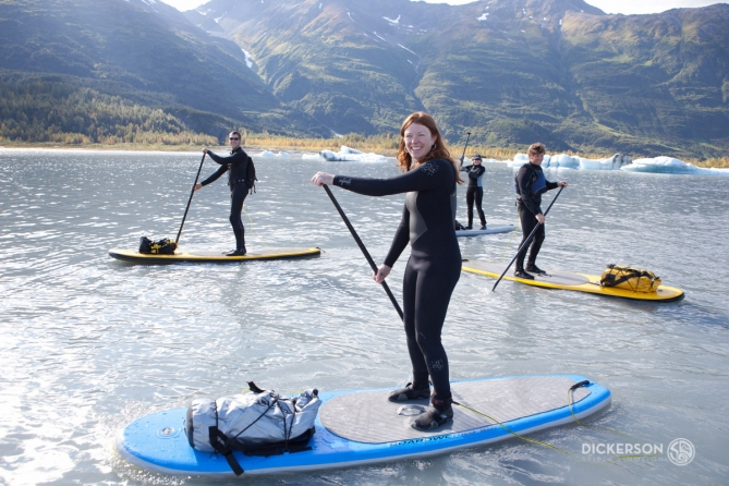 stand up paddling spencer glacier lake in Alaska's Chugach Mountains