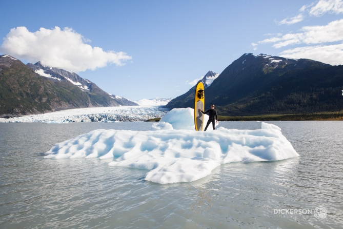 stand up paddleboarding spencer glacier lake, Alaska
