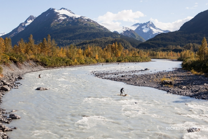 Standup paddleboarding on a glacial river in Alaska.