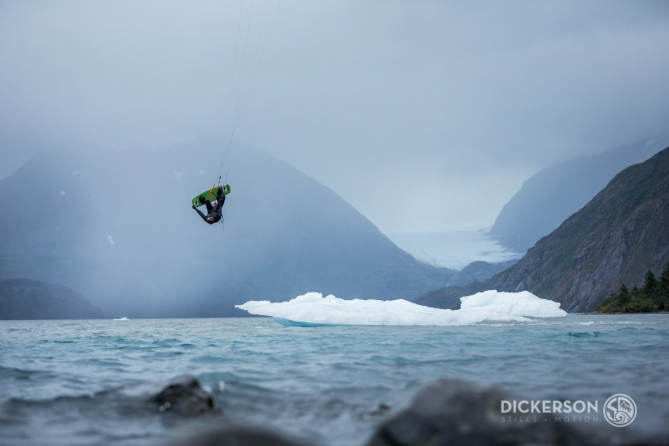 Jason Slezak, kitesurf ambassador for Patagonia, kiting in a glacial lake in Alaska.