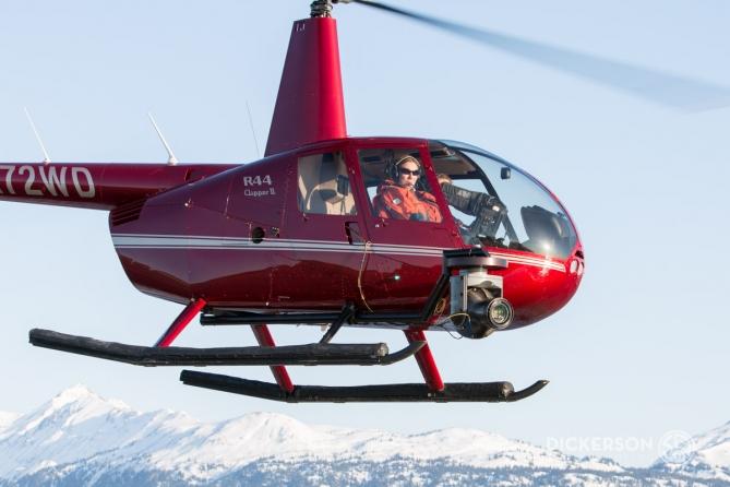 Cineflex nose mount robinson R44 helicopter. Pole mount ZatzWorks Alaska