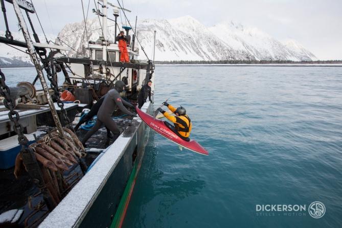 Winter surf trip aboard a commercial fishing boat in Alaska.